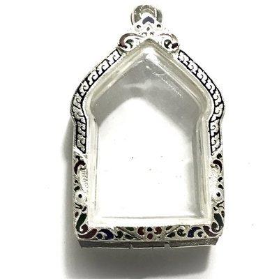 Solid Silver Frame Case for Pra Khun Phaen Pong Prai Kumarn 3 x 4 Cm Type Amulets Rachawadee Coloured Glaze