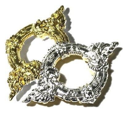 Buang Nakabat Magic Naga Sling for Gambling, Business + Banishing Black Magick - 2 Sided Gold + Silver Plate - Luang Por Sangkh Tong