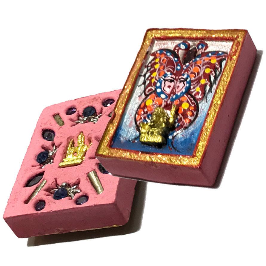 Taep Jamlaeng Pim Lek Asrom Sathan 2555 BE Blue Red Butterfly Ganesha + Brahma 13 Gems 4 Takrut Only 400 Made Kroo Ba Krissana