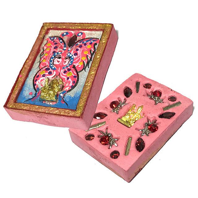 Taep Jamlaeng Pim Lek Asrom Sathan 2555 BE Only 400 Made Pink Butterfly Ganesha + Brahma 13 Gems 4 Takrut Kroo Ba Krissana