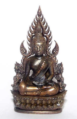 Pra Putta Chinarat (Loi Ongk Statuette) 'Jom Rachan' (Warrior King) edition 2555 BE - Nava Loha Thaan Nava (9 Sacred Metals Body and Base) - Wat Pra Sri Radtana Maha Tat (Pitsanuloke)