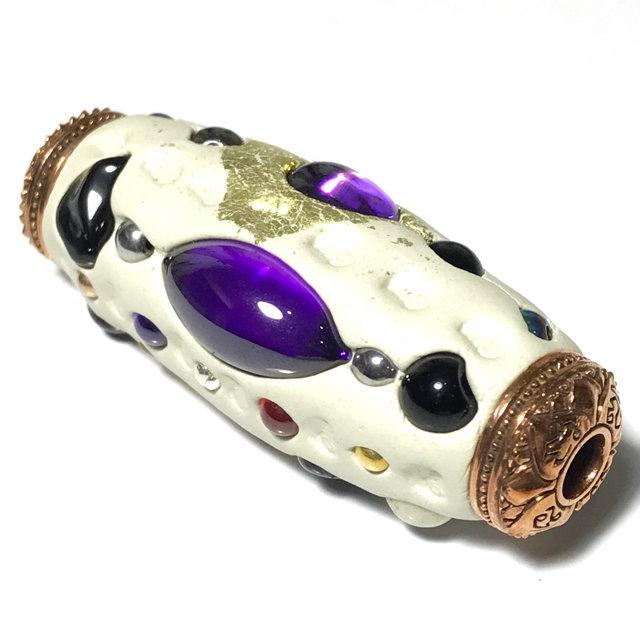 Takrut Paya Nak Suriya Kaya Siddhi Amulet for Power, Promotion and Wealth  Large 2 Inches Sacred Clay Precious Gems Lek Lai Beads - Pra Ajarn Som