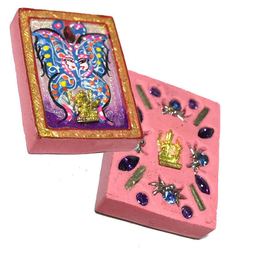 Taep Jamlaeng Pim Lek Asrom Sathan 2555 BE Blue Purple Butterfly - Ganesha Brahma 13 Gems 4 Takrut Only 400 Made Kroo Ba Krissana