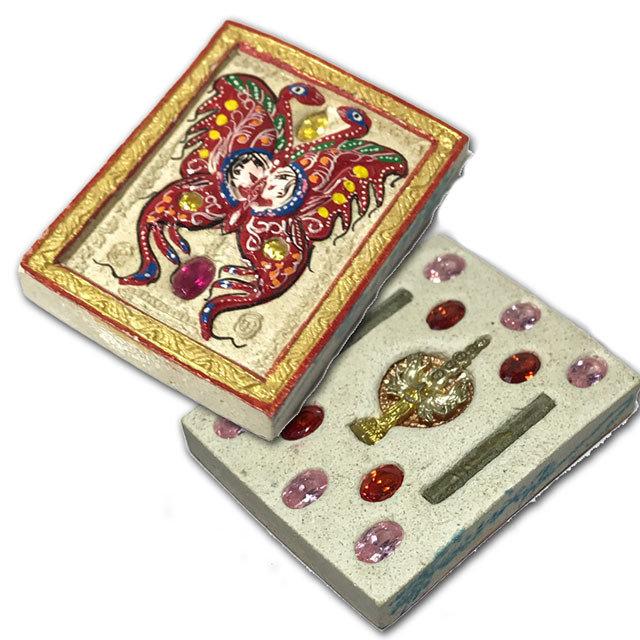 Taep Jamlaeng Pim Klang Asrom Sathan 2555 BE Red Butterfly 2 Takrut 14 Gems Kwan Yin Bodhisattva - Kroo Ba Krissana Only 55 Made