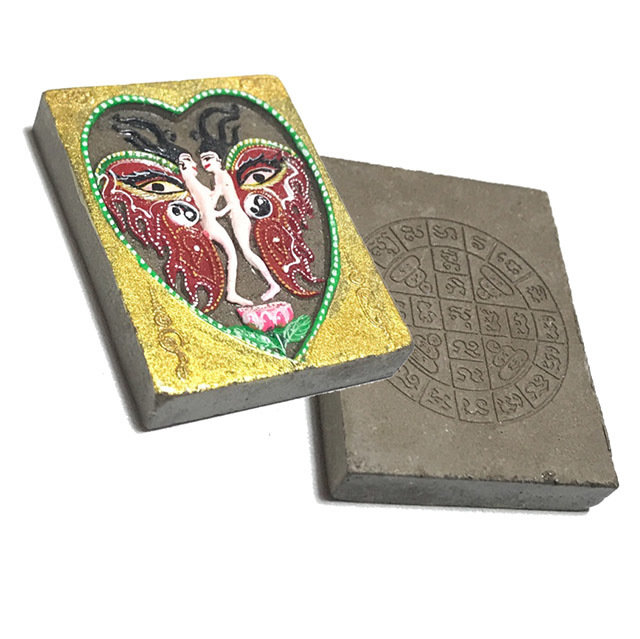 Taep Hansa Hlang Yant Duang Pim Klang First Edition 2547 BE - Nuea Muan Sarn Gao Heavenly Deva Blue Wings Pink Heart Kroo Ba Krissana