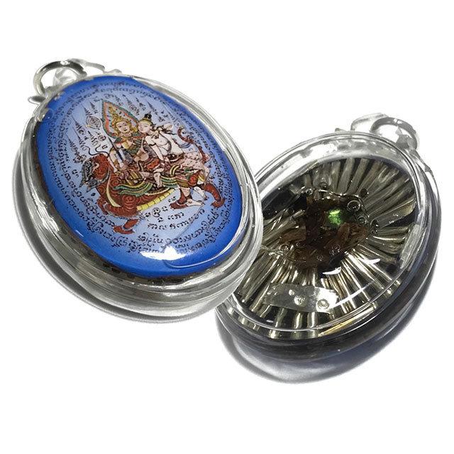 Tewada Long Hong Paetch Payatorn Large Blue Locket in Prai OIls, Charm Powders, Rak Sorn Flower, Emerald & 40 Takrut Luang Phu In