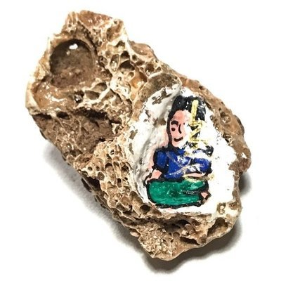 Chin Aathan Mae Nang Prai Nong Nu Dtua Kroo Bone Carving 5.5 x 2.5 Cm Prai Powders Yae Hyae Wood Corpse Cloth 5 Gems Ajarn Surak