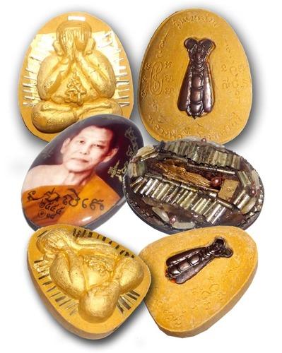 3 Amulet Special Gammagarn Collector Set (#89) - only 100 sets made - 'Serp Dtamnan Luang Phu Noi' Edition 2555 BE - Luang Por Jerd - Suan Badibat Tam Po Sethee