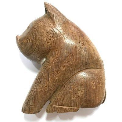 Moo Maha Lap Mai Gae 4.8 Inches Carved Lucky Pig Hand Inscribed Bucha Statue Luang Por Bpun