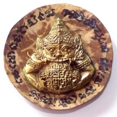 Pra Rahu Om Jantr in 'Nuea Tong Rakang' + 'Gala Ta Diaw Jarn Mer' One Eyed Coconut Shell with Hand Inscriptions from Luang Por Prohm of Wat Ban Suan
