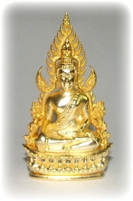 Pra Putta Chinarat (Loi Ongk Statuette) 'Jom Rachan' (Warrior King) edition 2555 BE - Nuea Loha Chup Tong (Sacred Bronze with 24 K Gold Coating) - Wat Pra Sri Radtana Maha Tat