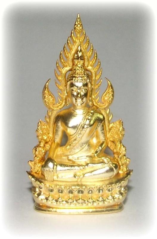Pra Putta Chinarat (Loi Ongk Statuette) 'Jom Rachan' (Warrior King) edition 2555 BE - Nuea Loha Chup Tong (Sacred Bronze with 24 K Gold Coating) - Wat Pra Sri Radtana Maha Tat
