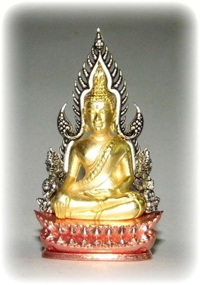 Pra Putta Chinarat (Loi Ongk Statuette) 'Jom Rachan' (Warrior King) edition 2555 BE - Nuea Sam Kasat (Tricolor Gold, Pink Gold and Silver Plating) - Wat Pra Sri Radtana Maha Tat