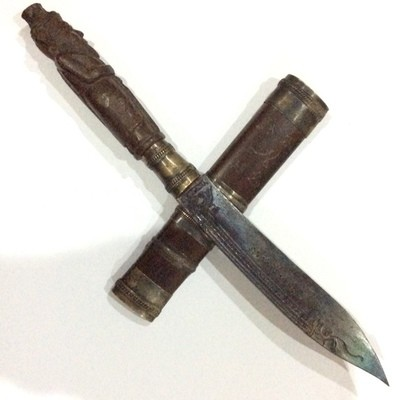 Mitmor Por Gae Lersi Ta Fai (Hermit God) - 9 Inch Sacred wood Ritual Knife Lek Nam Pi Blade with Magical inscription - Luang Por Prohm (Wat Ban Suan) & Asrom Por Taw Guwen