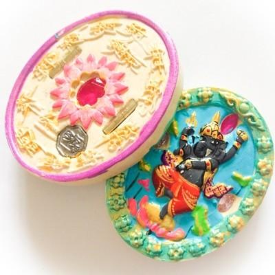 Pra Pikanes- Ganesha Elephant Deity- Aquamarine Face White Powders - (1 Look Namo Plug+ 2 Silver Takrut + 4 Gems)- Sae Yid 60 Edition