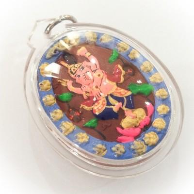 Pra Pikanes- Ganesha Elephant Deity- Red Powders - (1 Look Namo Plug+ 2 Silver Takrut + 4 Gems)- Sae Yid 60 Edition