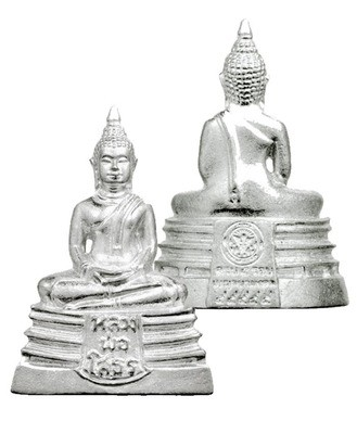 Pra Luang Por Sotorn Loi Ongk Statuette - Solid Silver Buddha Image - Benja Nava Mongkol Edition 2555 BE - Wat Sotorn Voraram
