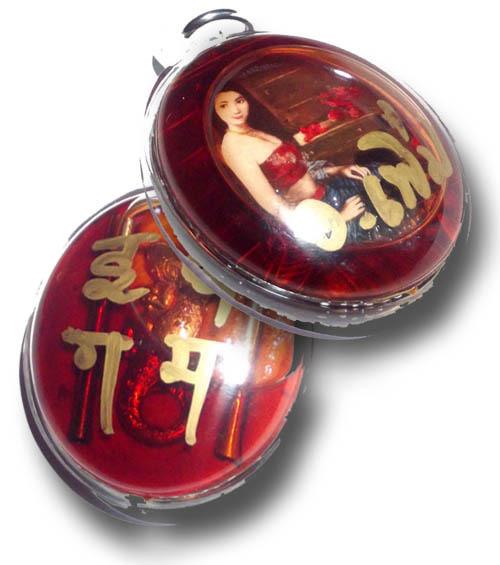 Mae Nang Prai Tip Suwan - Pasanee Maiden in Prai Oil with Gecko Charm, Hand Inscription, 2 Takrut, Dork Tong Powders - AC Perm Prai Dam