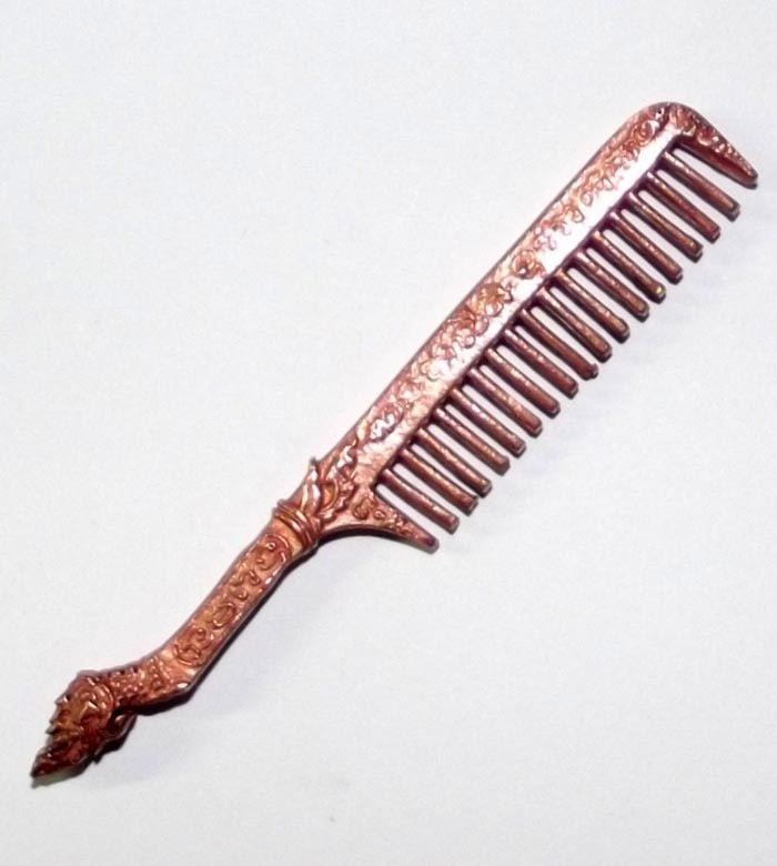 Hwee Maha Mongkol (Small 6.2 Cm) Money Comb of Great Blessings with Naga Head Handle - Nuea Nava Loha (9 Sacred Metals) - Luang Phu Maha Kam Daeng  - Sadta Mongkol Edition 2555 BE