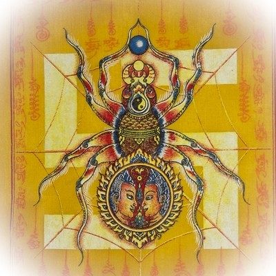 Pha Yant Maeng Mum Maha Lap - Money Catching Spider (yellow) - Kroo Ba Krissana Intawanno- Sae Yid 60 Edition 2557 BE