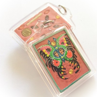 Taep Jamlaeng Butterfly King- Pim Lek -Green Frame+Pink Powders - (1 Look Namo Plug+21 Ploi Sek Gems+ 2 Silver Takrut)- Sae Yid 60 Edition