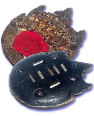 Taep Pra Rahu Jab Dtawan Ongk Kroo - Nuea Nava Loha 9 Takrut 4 Gems - Asura Eclipse God - 'Sang Hor Chan' 2555 BE Edition - Kroo Ba Lerd - Wat Tung Man Dtai