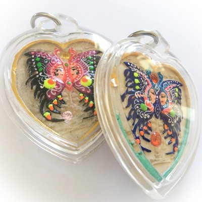 Hua Jai Taep Pamorn Maha Sanaeh - Butterfly King Heart Large Edition - White Powders - 8 Gems+2 Silver Takrut + 9 Tails Fox Demoness Enchantress- Sae Yid 60 Edition