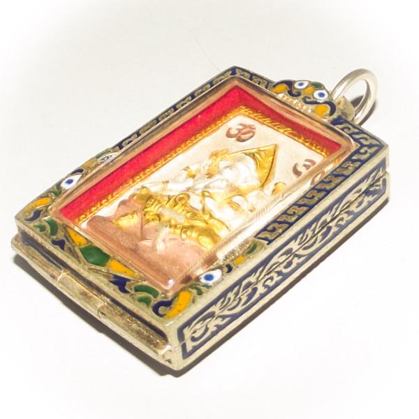 Sorng Maha Taep Pra Pikanes Pra Prohm Sam Kasat - Brahma and Ganesha two sided Deity Amulet - Solid Silver Case with Rachawadee Enamels - Sri Sukh 255BE Edition - Kroo Ba Krissana