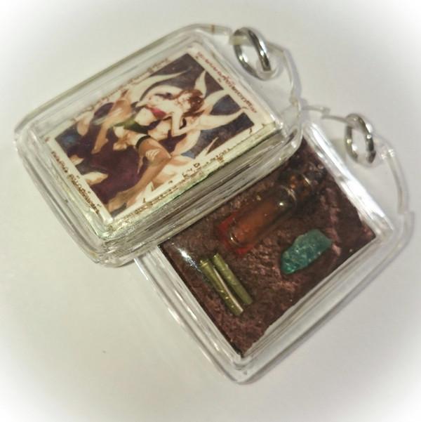 9 Tails fox Demoness Enchantress Necromantic Amulet (Saep Som Posture) - Prai Powders, Takrut, Nam Man Prai - Ajarn Suntorn