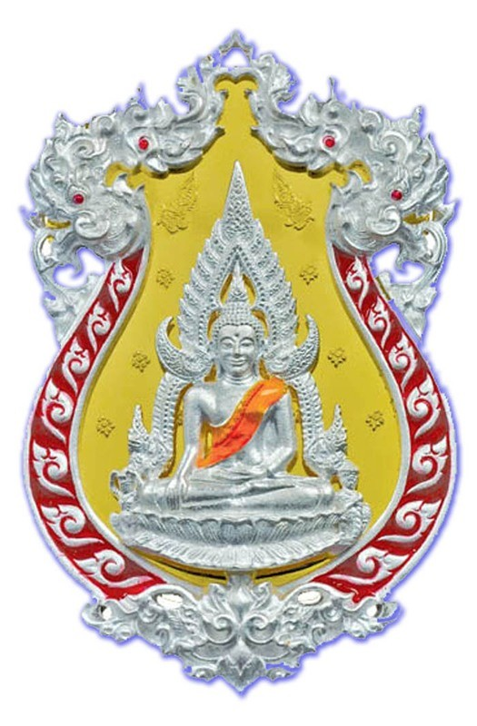 Rian Chalu Pra Putta Chinarat 'Jom Rachan' (Warrior King) edition 2555 BE - Nuea Ngern Long Ya Si Daeng (Solid Silver with Red Enamel + Gold Plated Back) - Wat Pra Sri Radtana Maha Tat (Pitsanuloke)