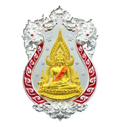 Rian Chalu Pra Putta Chinarat 'Jom Rachan' (Warrior King) edition 2555 BE - Nuea Ngern Long Ya Si Daeng (Solid Silver + Gold Buddha with Red Enamel) - Wat Pra Sri Radtana Maha Tat