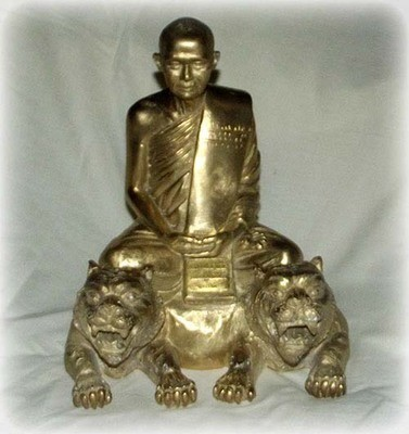 Bucha Statue of Luang Por Supoj Sitting on a Two Headed Tiger
