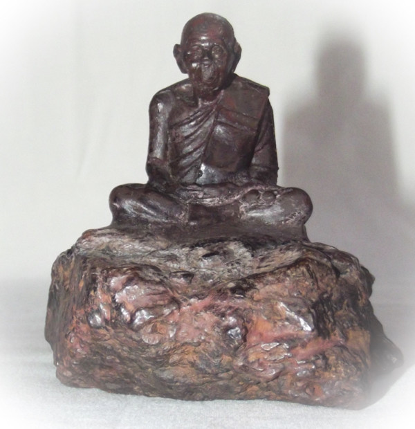 Adamantine Bucha Statue of Por Tan Klai on a piece of Lek Lai - 2.5 x 3 Inches - Blessed by Luang Por Khai, Luang Por Prohm & the Khao Or Masters