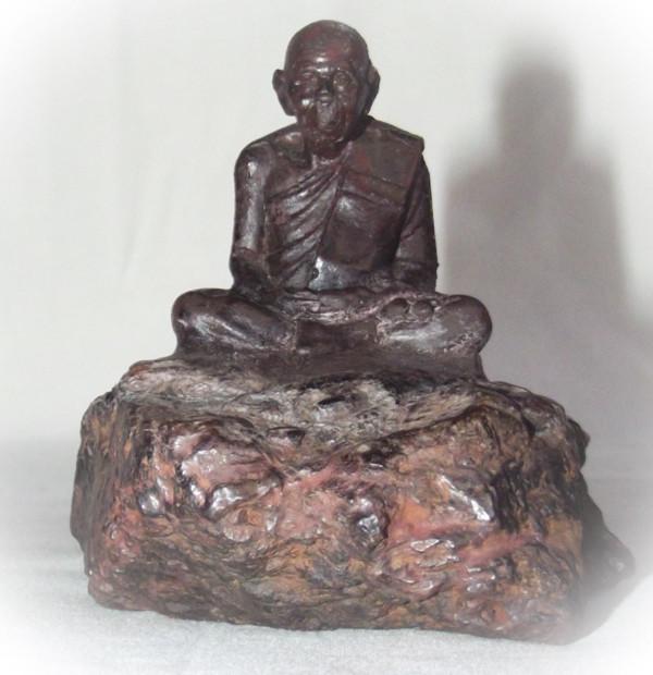 Adamantine Bucha Statue of Por Tan Klai on a piece of Lek Lai - 2.5 x 3 Inches - Blessed by Luang Por Khai, Luang Por Prohm & the Khao Or Masters