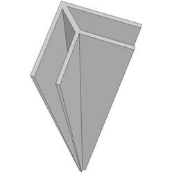 HOEK PROFIEL OPEN WALL chroom voor combinatie zijpanelen