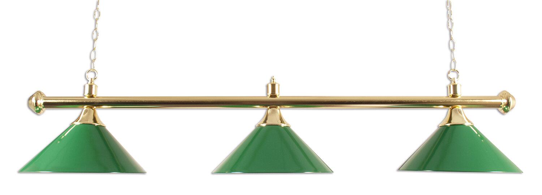 Lamp type pool met drie kappen messing/groen