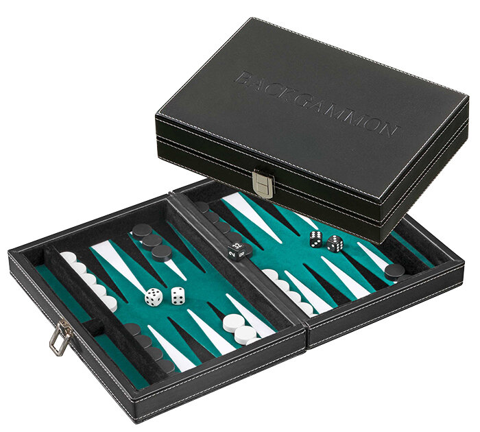 PHILOS Backgammon Tinos klein groen 23x16,5cm