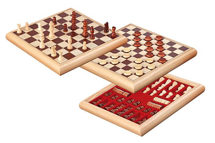 PHILOS houten schaak-dam set 32x32cm