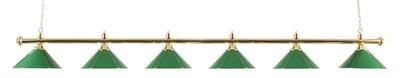 Lamp type pool met zes kappen messing/groen
