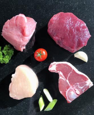 Mixed Grill, varkenshaas, kipfilet, biefstuk en lamskotelet per stuk                                € 5,95