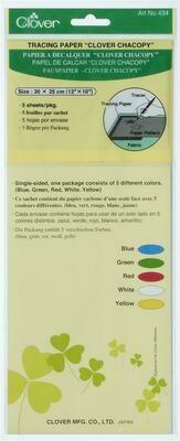 Carbon papier Clover wit-geel-rood-blauw-groen
