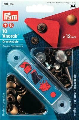 "Drukknopen ""anorak"" 12mm oudmessing"