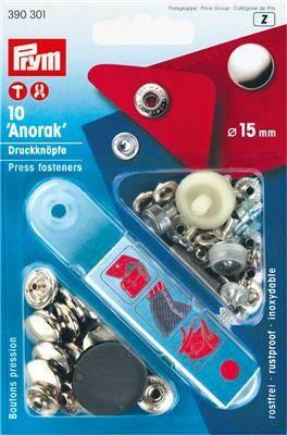 """Drukknopen """"anorak"""" 15mm zilver"""