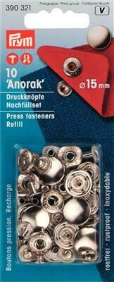 """Drukknopen """"anorak"""" 15mm zilver navulling"""