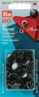 """Drukknopen """"anorak"""" 15mm antraciet navulling"""