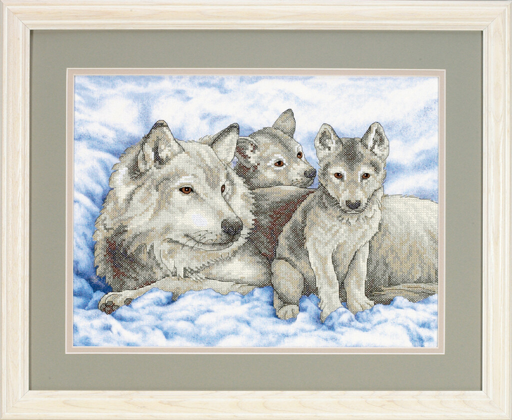 "Kruissteek ""Mother Wolf and Pups"""