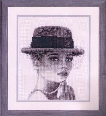 """Kruissteek """"Dame met hoed"""""""
