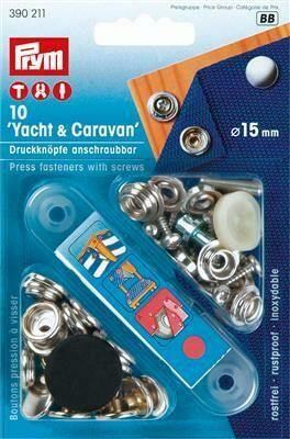 """Drukknopen """"Yacht & caravan"""" opschroefbaar 15mm zilver"""