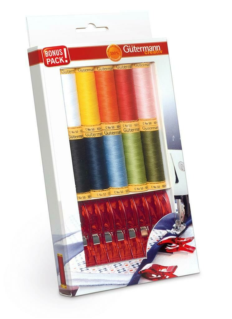 Gütermann bonuspack katoen 10 kleuren + stofclips