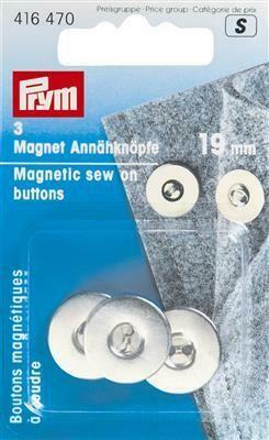 Magneetknop 19mm zilver